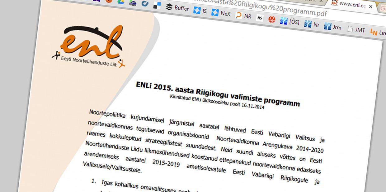 Noorteühenduste liidu Riigikogu valimise programmist